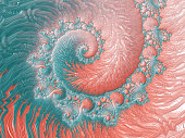Abstract Living Coral Reef Colorful Sea Swirl Spiral Pattern Trendy Colors Bright Pastel Orange Teal Light Blue Fractal Fine Art High Resolution