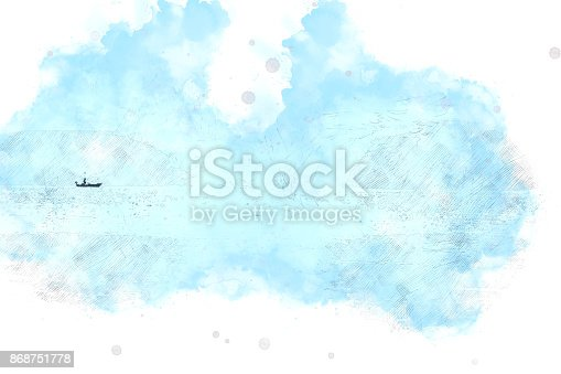 istock Abstract Long boat fishing in sea, Fishing boat on watercolor paining background and colorful splash brush to art. 868751778