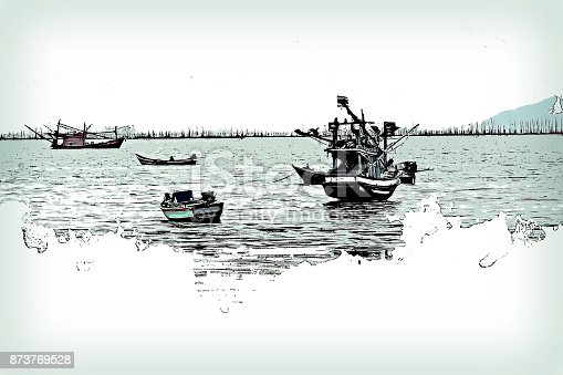 istock Abstract Long boat fishing in sea, Fishing boat on watercolor paining background and colorful splash brush to art. 873769528