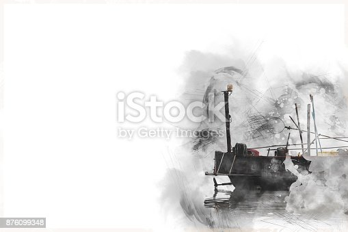 istock Abstract Long boat fishing in sea, Fishing boat on watercolor paining background and colorful splash brush to art. 876099348