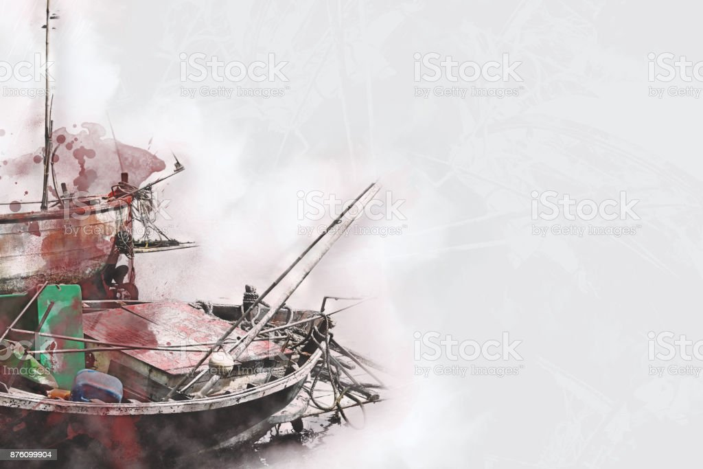 Abstract Long boat fishing in sea, Fishing boat on watercolor paining background and colorful splash brush to art. stock photo