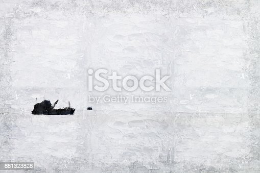 istock Abstract Long boat fishing in sea, Fishing boat on watercolor paining background and colorful splash brush to art. 881323828