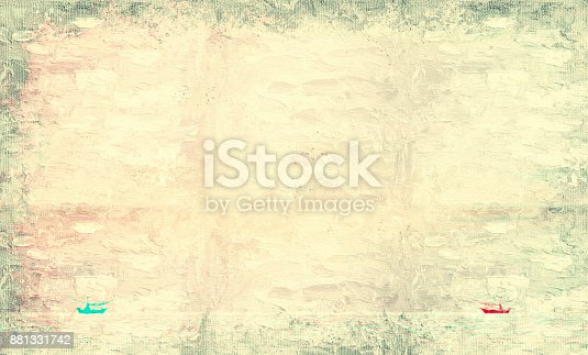 istock Abstract Long boat fishing in sea, Fishing boat on watercolor paining background and colorful splash brush to art. 881331742