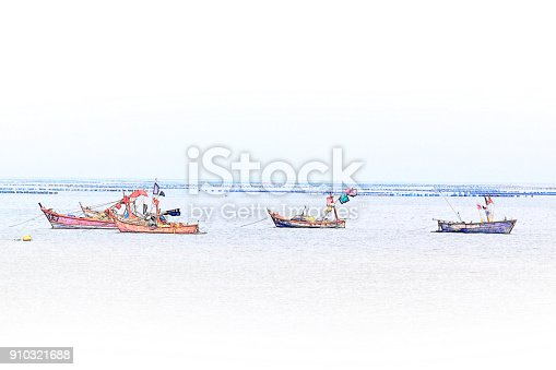 istock Abstract Long boat fishing in sea, Fishing boat on watercolor paining background and colorful splash brush to art. 910321688
