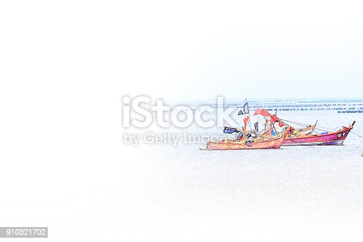 istock Abstract Long boat fishing in sea, Fishing boat on watercolor paining background and colorful splash brush to art. 910321702