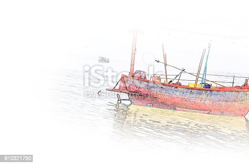 istock Abstract Long boat fishing in sea, Fishing boat on watercolor paining background and colorful splash brush to art. 910321750