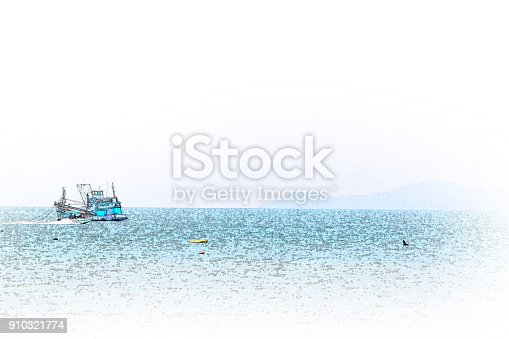 istock Abstract Long boat fishing in sea, Fishing boat on watercolor paining background and colorful splash brush to art. 910321774