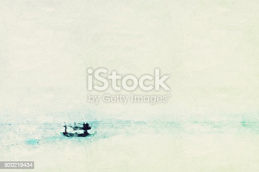 istock Abstract Long boat fishing in sea, Fishing boat on watercolor paining background and colorful splash brush to art. 920219434
