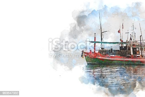 istock Abstract Long boat fishing in sea, Fishing boat on watercolor paining background and colorful splash brush to art. 953547332