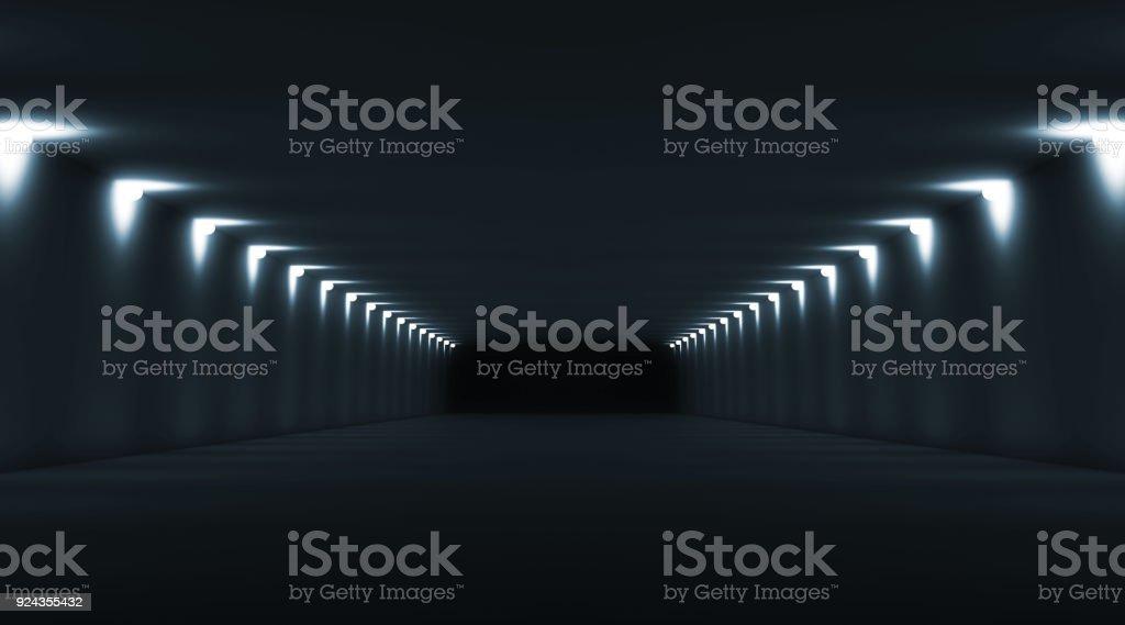 Abstrakte Lange, dunkle leere Innenraum 3d-tunnel – Foto