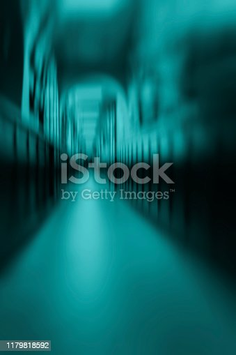 Abstract long empty hallway, modern vertical creative green background for design