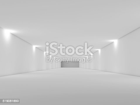 istock Abstract long empty white tunnel interior 3d 519081850