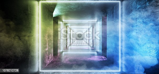 973972612 istock photo Abstract Long Grunge Concrete Sci Fi Modern Dark Empty Tunnel With Smoke Fog And Purple Blue Orange Green Led Neon Glowing Lights Reflections Background 3D Rendering 1078212728