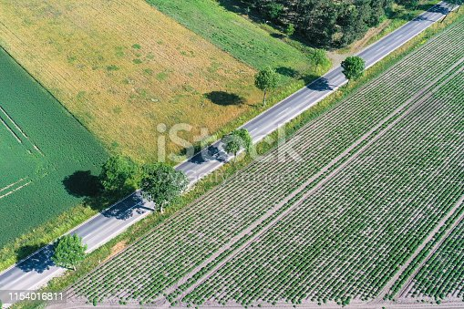 1095367134 istock photo Abstract looking aerial view of an asphalted country road running diagonally through the picture between agricultural areas and with small trees at the roadside, drone shot 1154016811