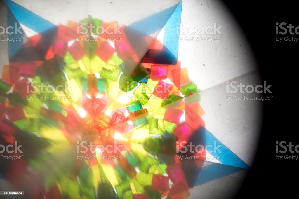 Abstract Looking Into a Kaleidoscope Background Geometric Shapes stock photo