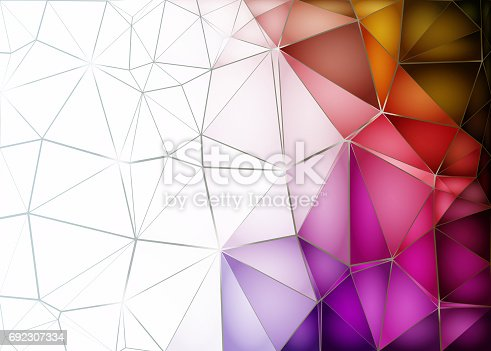 istock Abstract low poly background. Pattern of triangles. Polygonal design. Fullcolor all colors of the rainbow. White, blue, red. Raster copy. A4 692307334