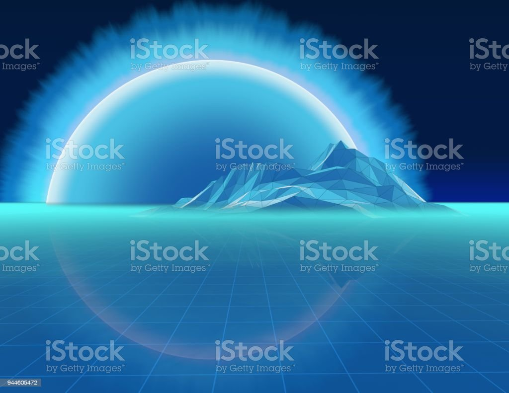Abstract low poly geometric landscape with tiled blue floor, mountain and big sun 3d render. stock photo