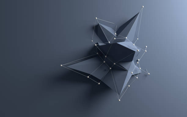 abstract low poly object - geometry stock photos and pictures