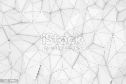 869478294 istock photo 3D Abstract Low Poly, White Chaotic Structure Background 1085168700