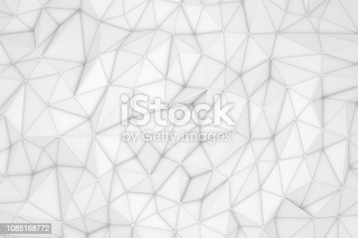 869478294 istock photo 3D Abstract Low Poly, White Chaotic Structure Background 1085168772