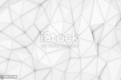 869478294 istock photo 3D Abstract Low Poly, White Chaotic Structure Background 1085170186