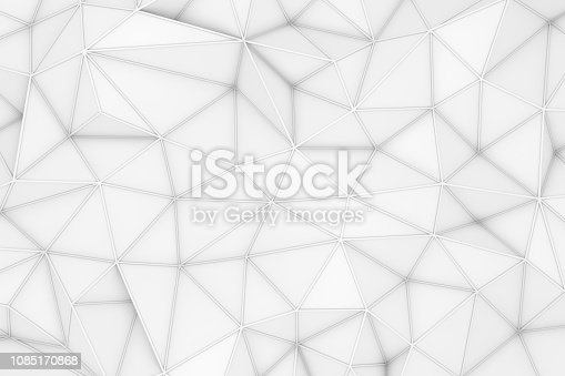 869478294 istock photo 3D Abstract Low Poly, White Chaotic Structure Background 1085170868