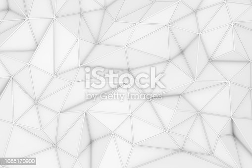 869478294 istock photo 3D Abstract Low Poly, White Chaotic Structure Background 1085170900