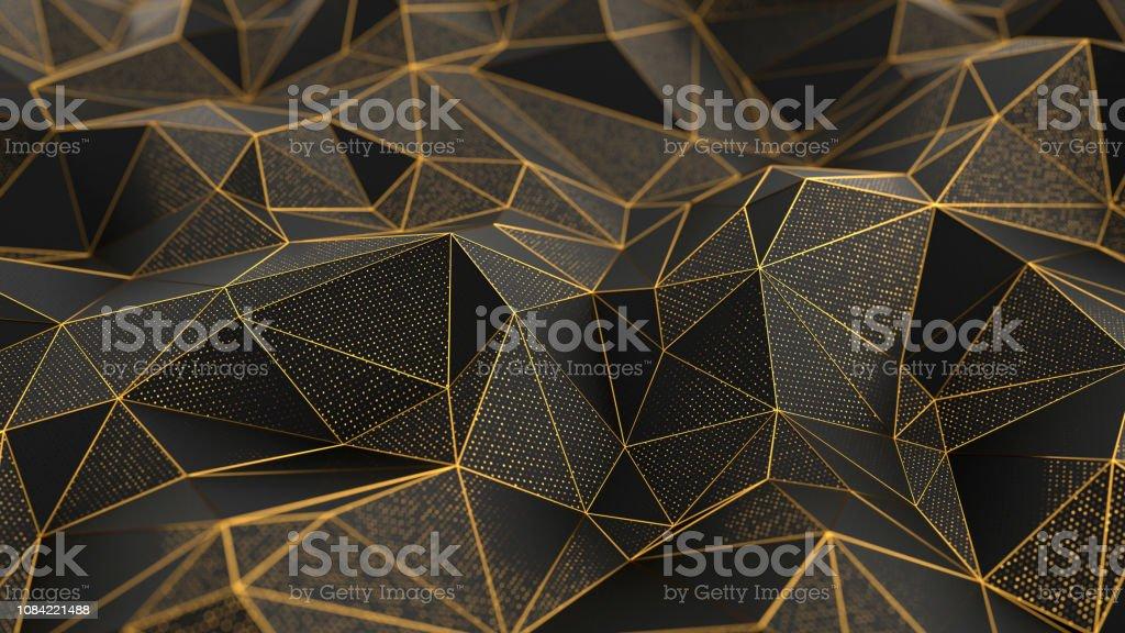 抽象的な低ポリ黒背景の金色の線 ロイヤリティフリーストックフォト