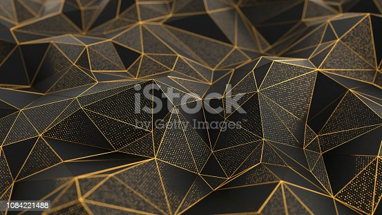 Abstract low-poly black background with golden lines. 3d render illustration