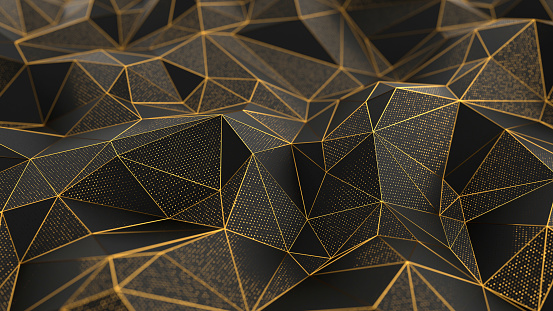 istock Abstract low-poly black background with golden lines 1084221488