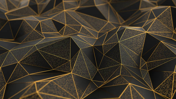 abstract low-poly black background with golden lines - geometric shape stock pictures, royalty-free photos & images