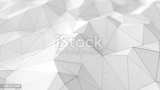istock Abstract low-poly white background with chrome lines 1084221506