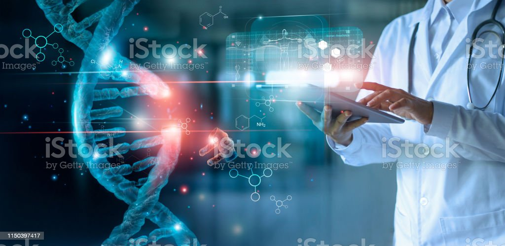 Abstract luminous DNA molecule. Doctor using tablet and check with analysis chromosome DNA genetic of human on virtual interface. Medicine. Medical science and biotechnology. - Стоковые фото Абстрактный роялти-фри