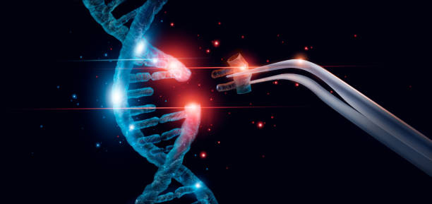 Abstract luminous DNA molecule. Genetic and gene manipulation concept. Cut of replacing part of a DNA molecule. Medicine. Innovative in science. Medical science and biotechnology. stock photo
