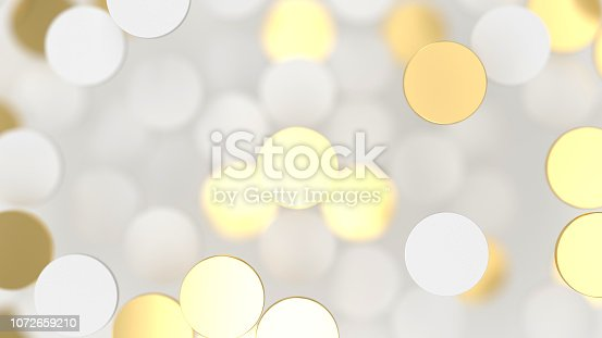 869781130 istock photo Abstract lux background with white and gold 3d circle 1072659210