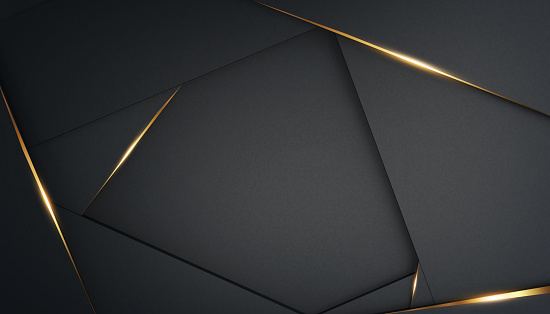 Abstract, luxurious polygonal black background with gold accents. Frame for text. 3d render. Template for design, banner