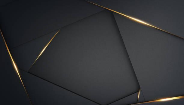abstrakcyjne, luksusowe wielokątne czarne tło ze złotymi akcentami. ramka dla tekstu. renderowanie 3d. szablon do projektowania, baner - luksus zdjęcia i obrazy z banku zdjęć