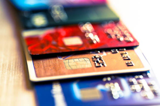 Abstract macro credit card background stock photo