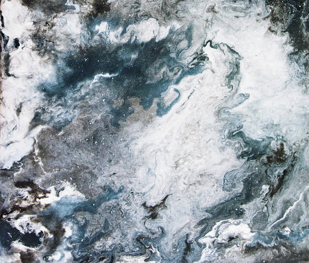 Abstract marble background, blue fluid