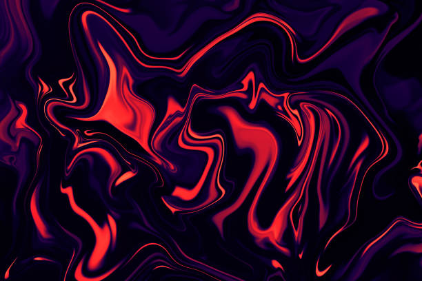 abstract marble colorful texture black background ebru marbled effect neon living coral orange red purple navy blue holographic gradient multi colored pattern trendy colors - trippy background imagens e fotografias de stock