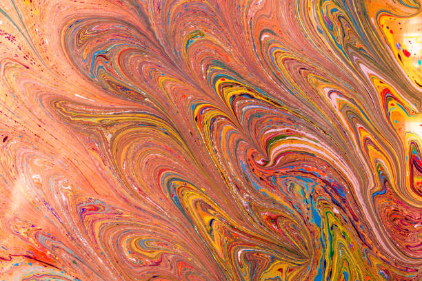 Abstract marbling art patterns as colorful background stock photo