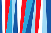 Material Design Background Flat Lay Wallpaper of Colorful Vertical Paper Strips of Bold Red, White and Blue