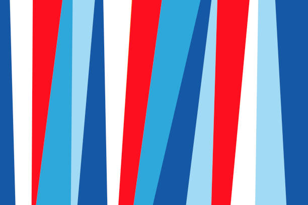 Abstract Material Design Flat Lay Background of Colorful Vertical Paper Strips in Red, White and Blue stock photo