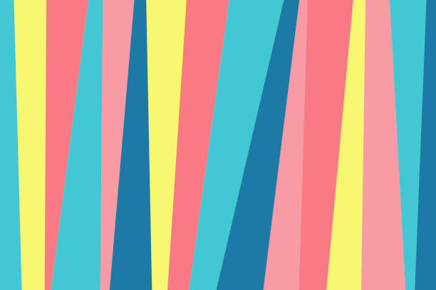 abstract material design flat lay background of colorful vertical paper strips in aqua, pink and yellow - pop art foto e immagini stock