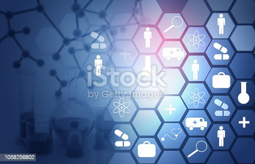 istock Abstract medical background with icons 1058256802