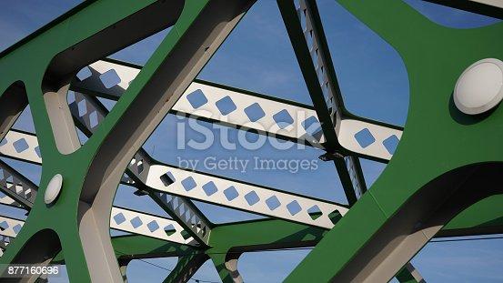 826748544 istock photo Abstract metal construction. Details of the metallic green bridge in Bratislava, Slovakia. Industrial construction. 877160696