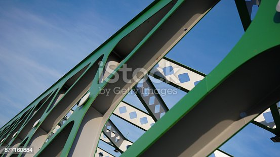 826748544 istock photo Abstract metal construction. Details of the metallic green bridge in Bratislava, Slovakia. Industrial construction. 877160884