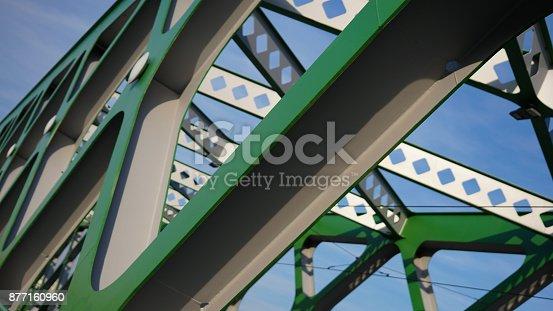 826748544 istock photo Abstract metal construction. Details of the metallic green bridge in Bratislava, Slovakia. Industrial construction. 877160960