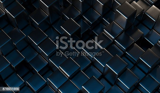 96897092 istock photo Abstract Metal Cubes Background 876931556