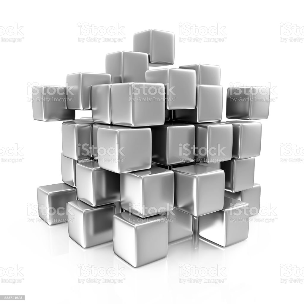Abstract Metal Cubes isolated on white background stock photo